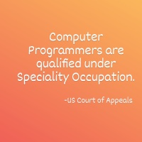 Computer Programmers are Qualified under Speciality Occupation